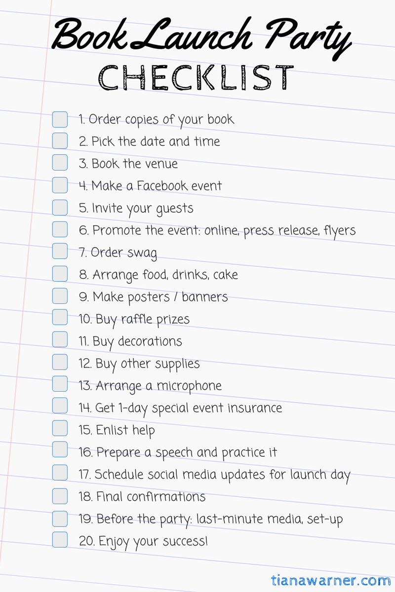 The Complete Book Launch Party Checklist Tiana Warner
