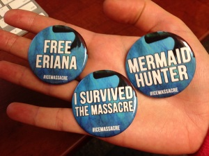 Buttons for book launch party from Six Cent Press